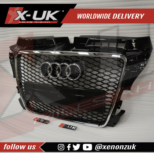 Audi a3 s3 2009 rs3 front grill quot gloss black with chrome surround quot