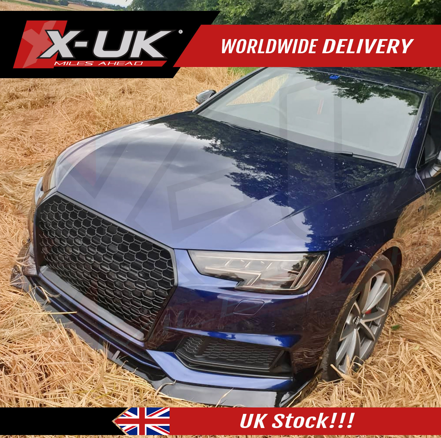RS4 Style Front Grill Gloss Black For Audi A4 / S4 B9 2016
