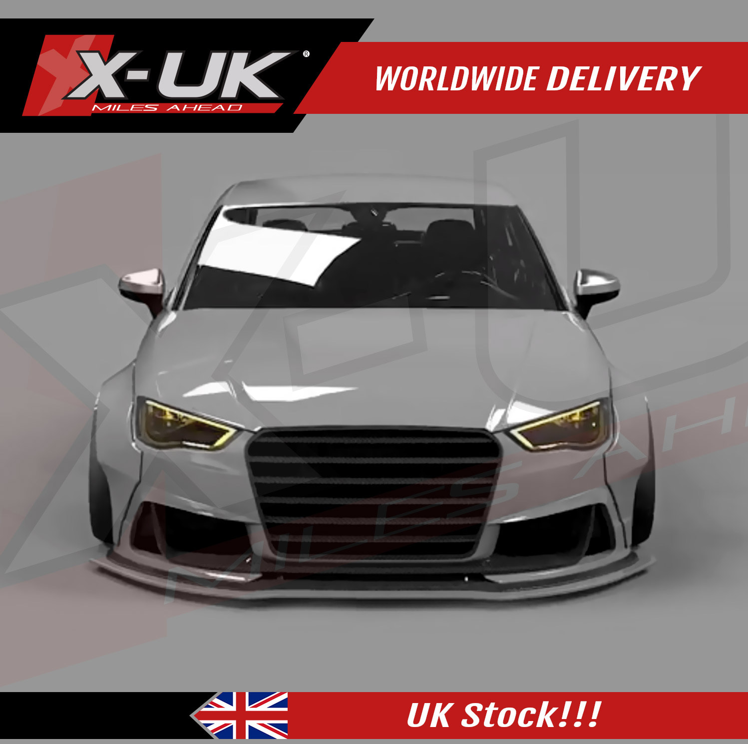 front splitter lip for audi a3 s3 8v 2012 2015. Black Bedroom Furniture Sets. Home Design Ideas
